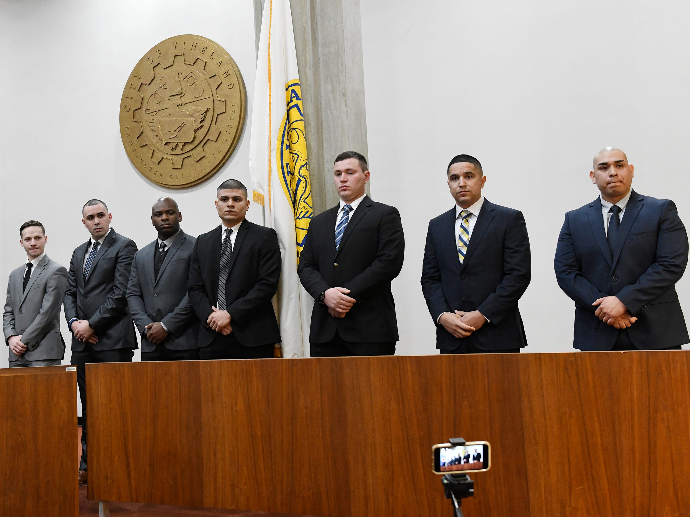 Mayor Anthony Fanucci swore in eight police officers at Vineland City Hall on Wednesday, Feb.27, 2019. (From l to r) Pictured here are Raul D. Rosario, John M. Rizzo, Alfredo J. Rodriguez, Teyson M. Mayes, Isaiah Rosa, Christopher Yuhas, Edmanuel Vega and Jovanni Briones.
