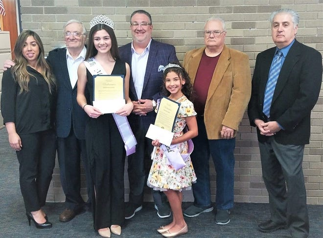 (From left) Miss Vineland Pageant Director Jessica Lucena, Pageant Co-Chair Dr. Frank DeMaio, Miss Vineland 2019 Marissa Marchese, Mayor Anthony Fanucci, Little Miss Vineland 2019 Jaslene Candelaria, Pageant Co-Chair Kevin Kirchner, and Pageant sponsor Alfred Verderose Esq., were present as the mayor recognized each pageant winner with a proclamation.