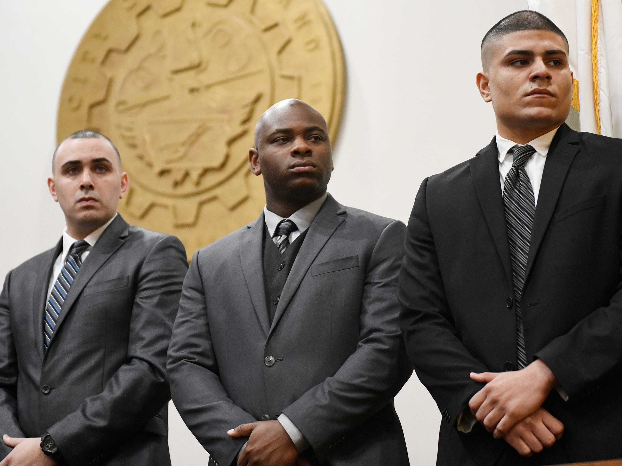 From (l to r) Alfredo J. Rodriguez, Teyson M. Mayes and Isaiah Rosa were among eight police officers sworn in by Mayor Anthony Fanucci at Vineland City Hall on Wednesday, Feb.27, 2019.