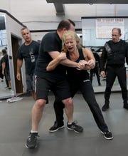 Elizabeth Murphy of Valhalla  in a  self-defense class at Steve Sohn's Krav Maga Self-Defense and Training Center in Scarsdale Feb. 26, 2019.