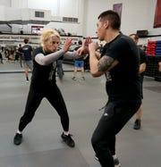 Valentina Kocovic of Bronxville in a self-defense class at Steve Sohn's Krav Maga Self-Defense and Training Center in Scarsdale.