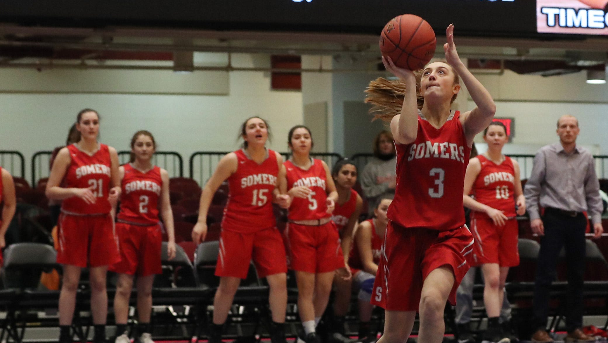 Somers defeated Walter Panas 39-27 in the girls Class A basketball playoff semifinal at the Westchester County Center in White Plains  Feb. 26,  2019.