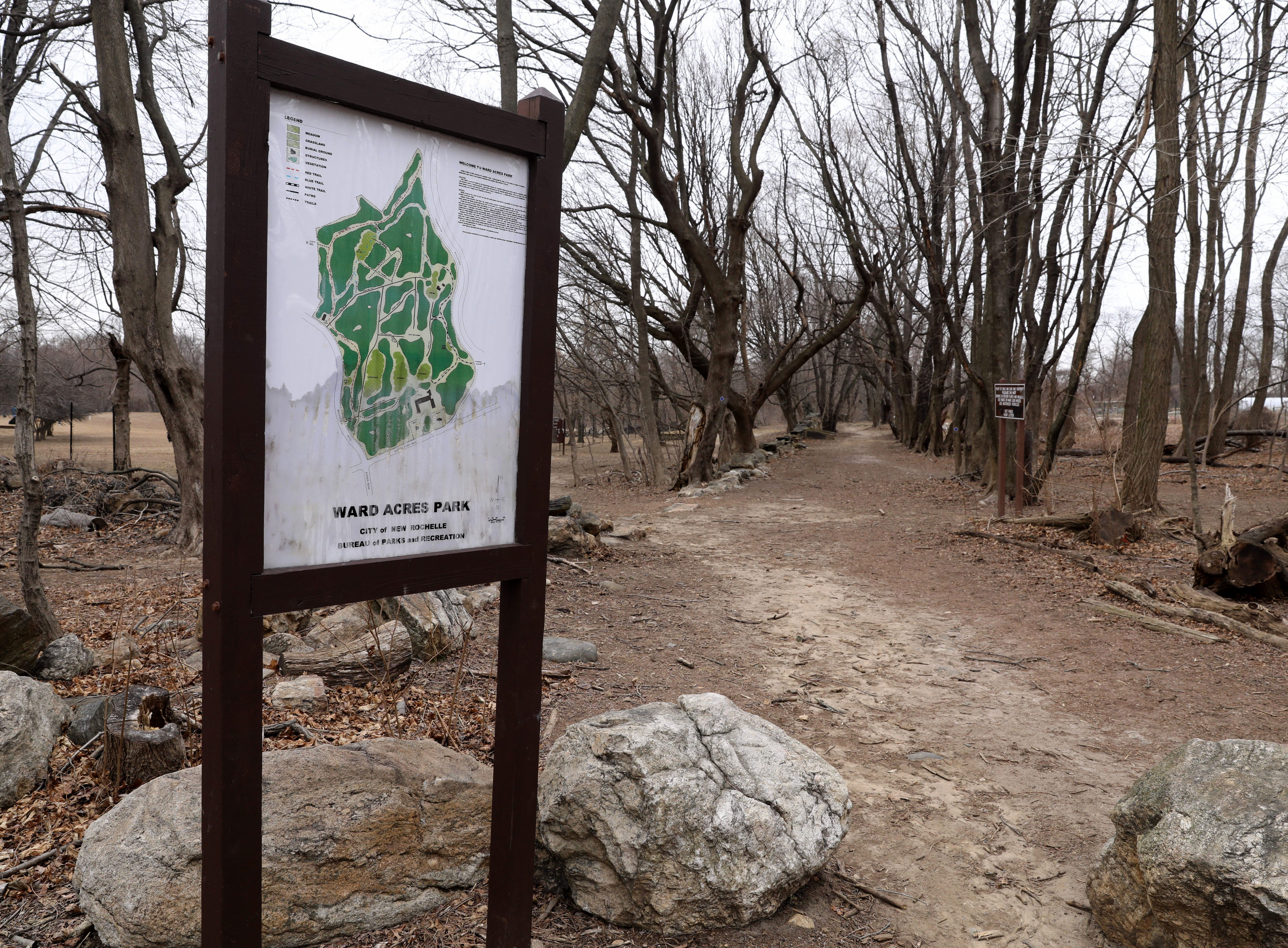 A map of Ward Acres Park in New Rochelle, greets visitors to the park, Feb. 27, 2019.