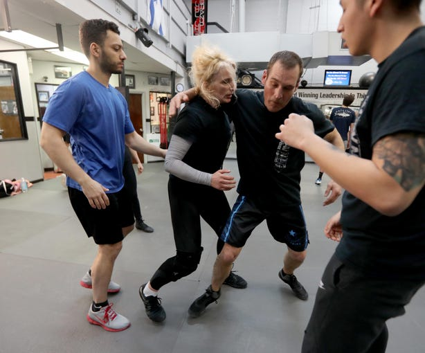 Valentina Kocovic of Bronxville works out with men in a self-defense class at Steve Sohn's Krav Maga Self-Defense and Training Center in Scarsdale Feb. 26, 2019. Krav Maga is a military self-defense and fighting system developed for the Israel Defense Forces.