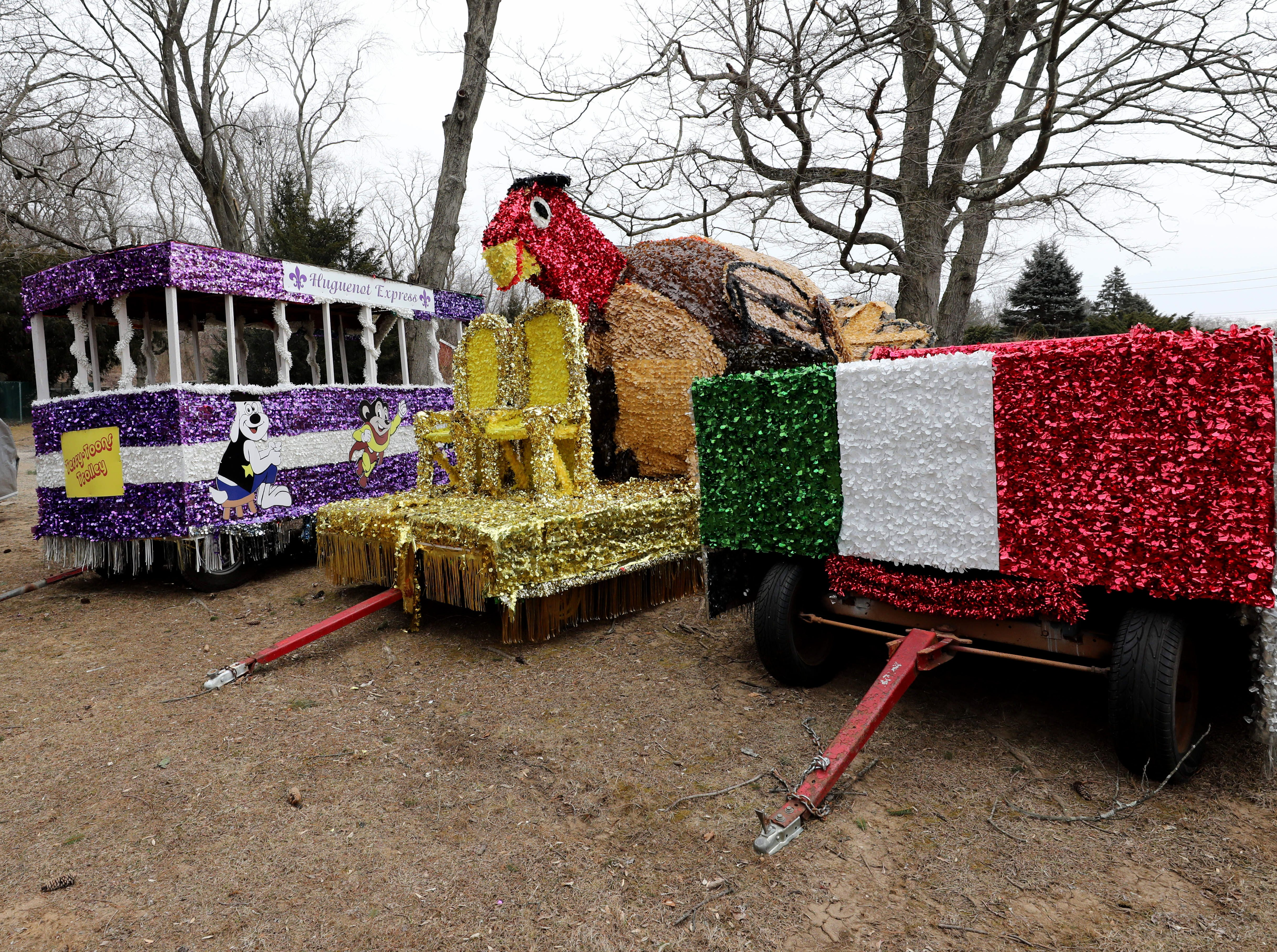 The Thanksgiving Parade floats are stored at Ward Acres Park in New Rochelle, Feb. 27, 2019.