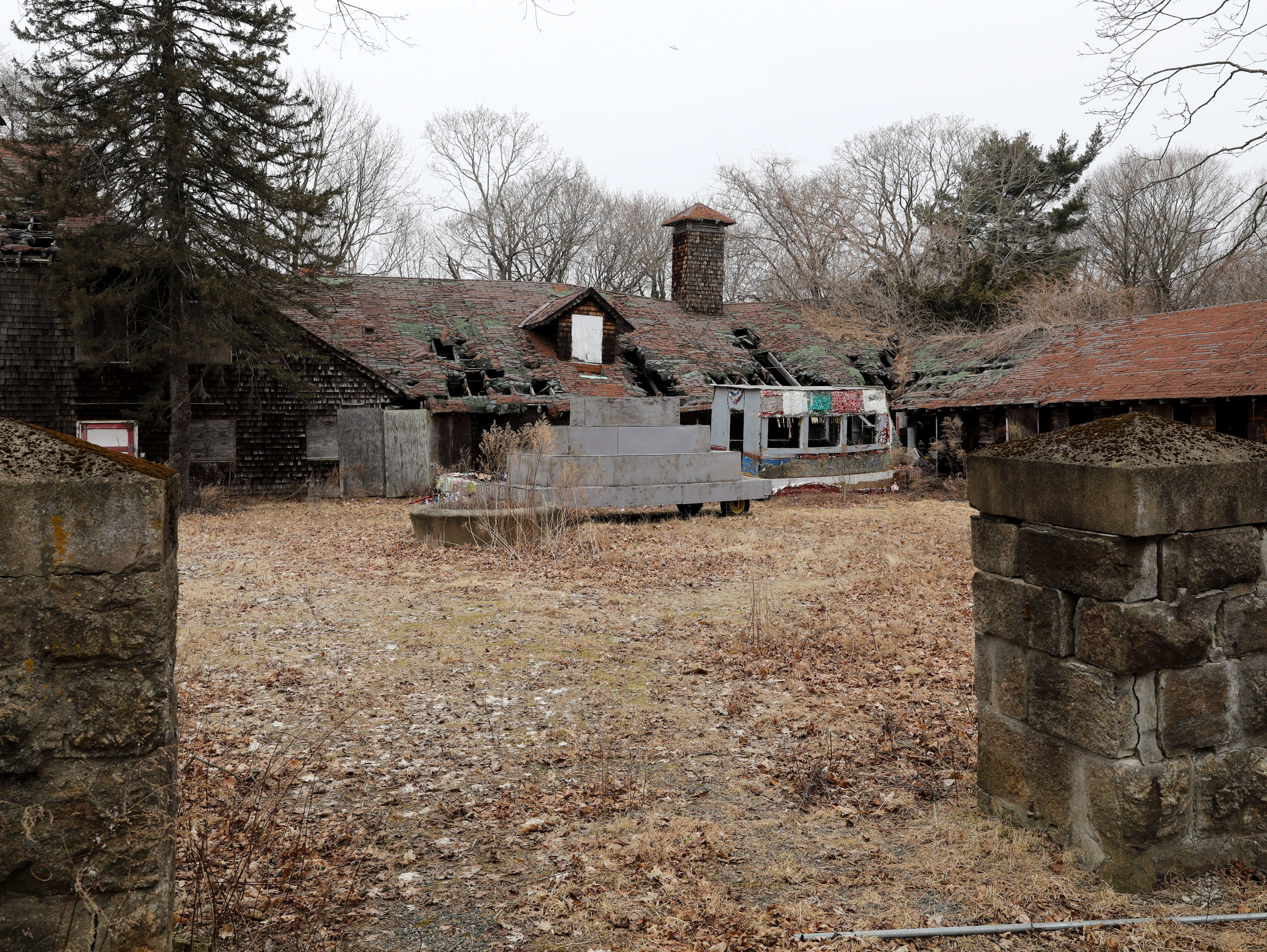 Dilapidated barn structures are pictured at Ward Acres Park in New Rochelle, Feb. 27, 2019.