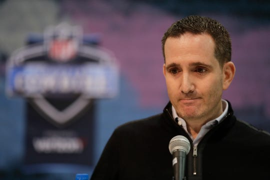 Philadelphia Eagles executive vice president of football operations Howie Roseman speaks during a press conference at the NFL football scouting combine in Indianapolis, Wednesday, Feb. 27, 2019. (AP Photo/Michael Conroy)