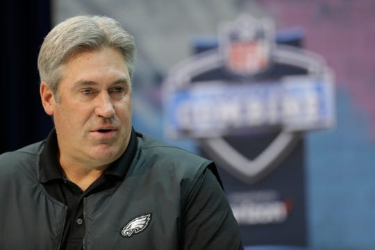 Philadelphia Eagles head coach Doug Pederson speaks during a press conference at the NFL football scouting combine, Wednesday, Feb. 27, 2019, in Indianapolis. (AP Photo/Darron Cummings)