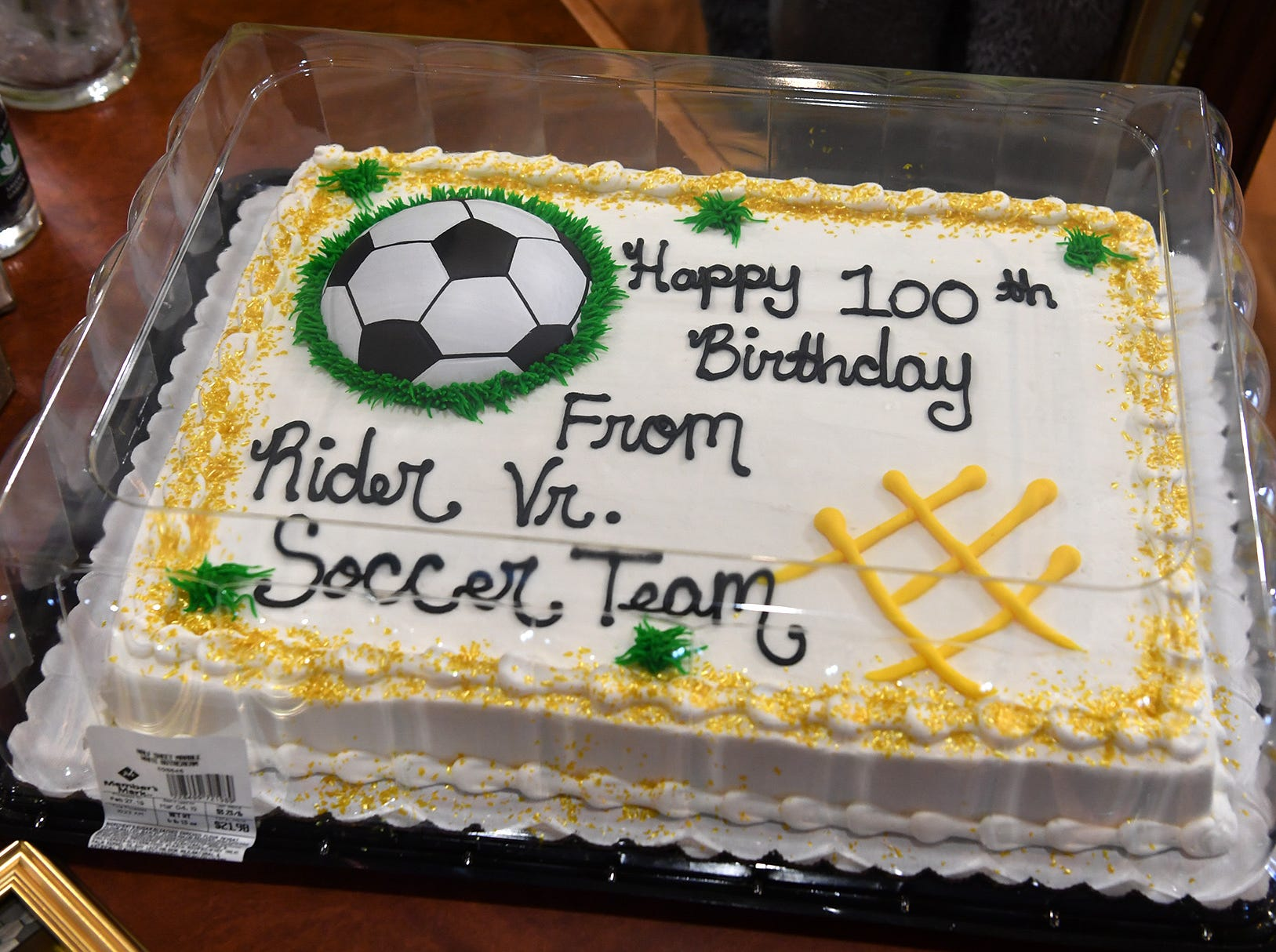 A birthday cake, t-shirt, balloons and flowers were delivered by the Rider High soccer team to Joe Cuba Wednesday. Cuba's family requested on social media for him to receive 100 cards for his 100th birthday and he's received approximately 16,000.