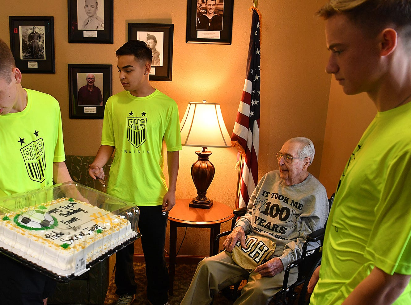 The Rider High School soccer team visited World War II veteran Joe Cuba Wednesday, bringing a cake, t-shirt, flowers and balloons for his 100th birthday. Cuba's family requested on social media for him to receive 100 cards for his 100th birthday and he's received approximately 16,000.