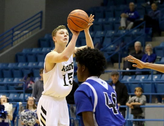 Rider's Carson Sager shotts from three-point range against Palo Duro in the Region I-5A regional quarterfinal Tuesday, Feb. 26, 2019, in Childress.