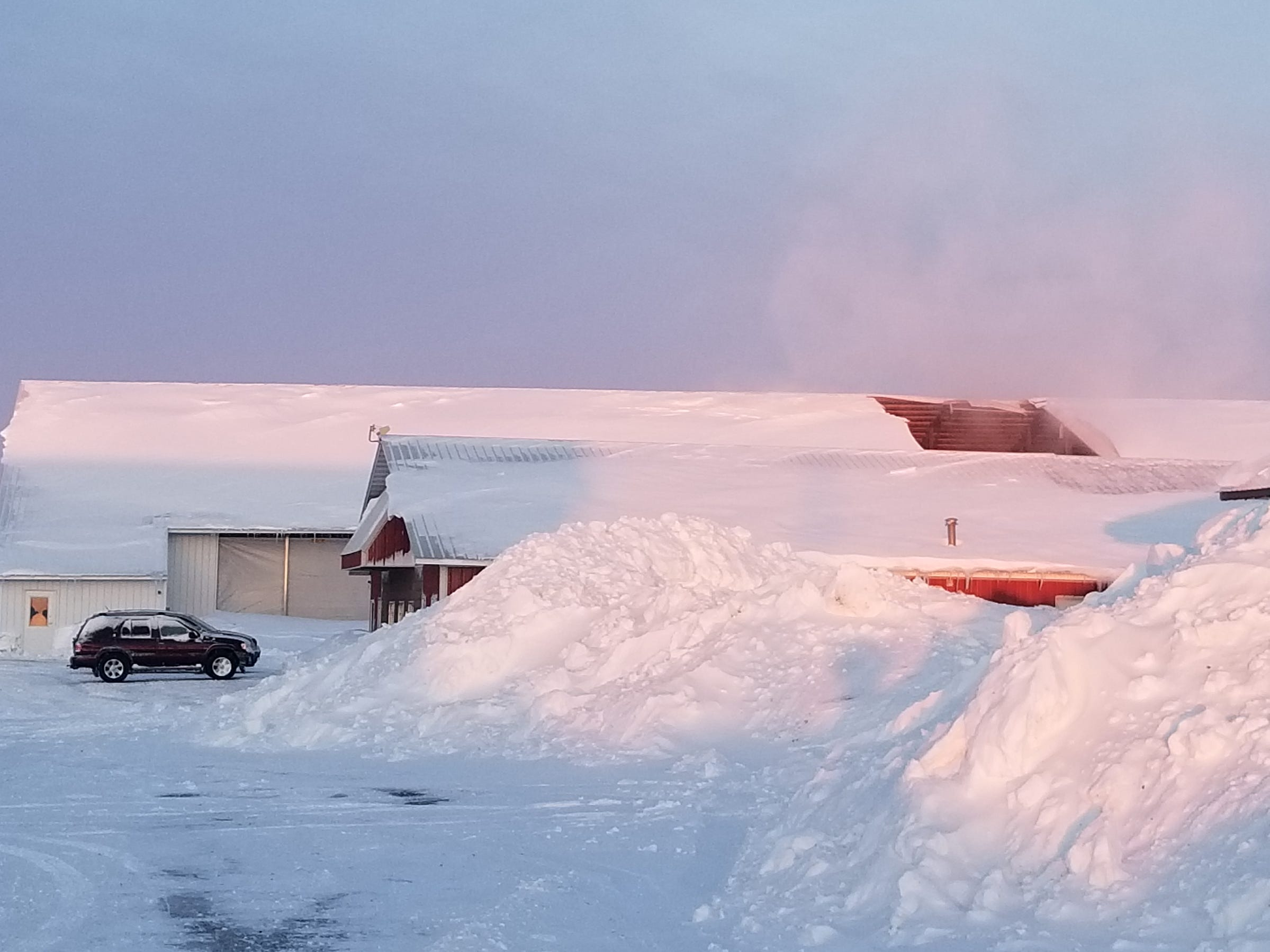 Roof-high piles of snow sit next to barn buildings at Dutch Dairy in Thorp after a Feb. 24 storm caused a roof to collapse.