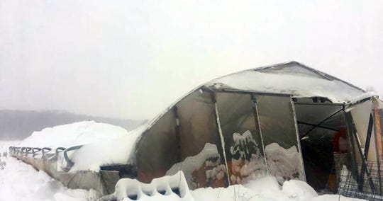 A high tunnel at Blue Ox Farm in Wheeler collapsed under the weight of snow from February snowstorms.