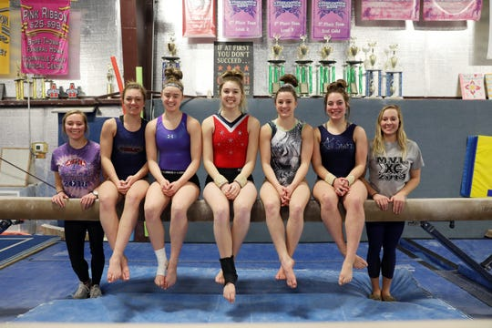 The Sheridan High School gymnastics team is headed back to the state competition on Friday. Team members are, from left, junior Madison Snider, left, sophomore Rylee Rodich, sophomore Brooklyn Heller, sophomore Addyson Boyer, senior Sydney Bradley, freshman Keegan Hogan, and junior Sarah Snider.