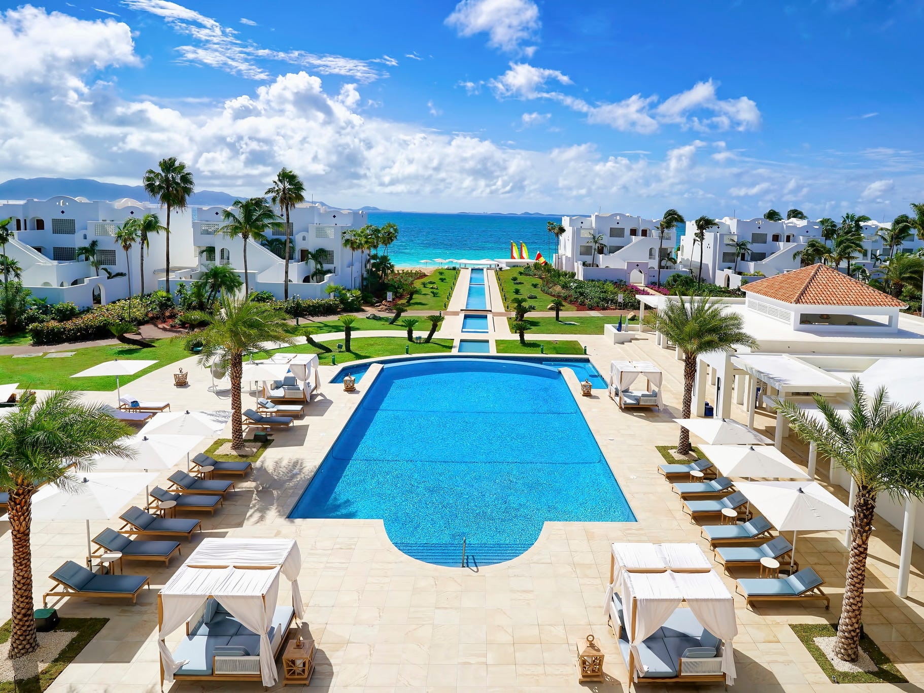 With dazzling views of Rendezvous Bay, the longest beach on Anguilla, the pool at the upscale CuisinArt Golf Resort & Spa is a swanky showstopper.
