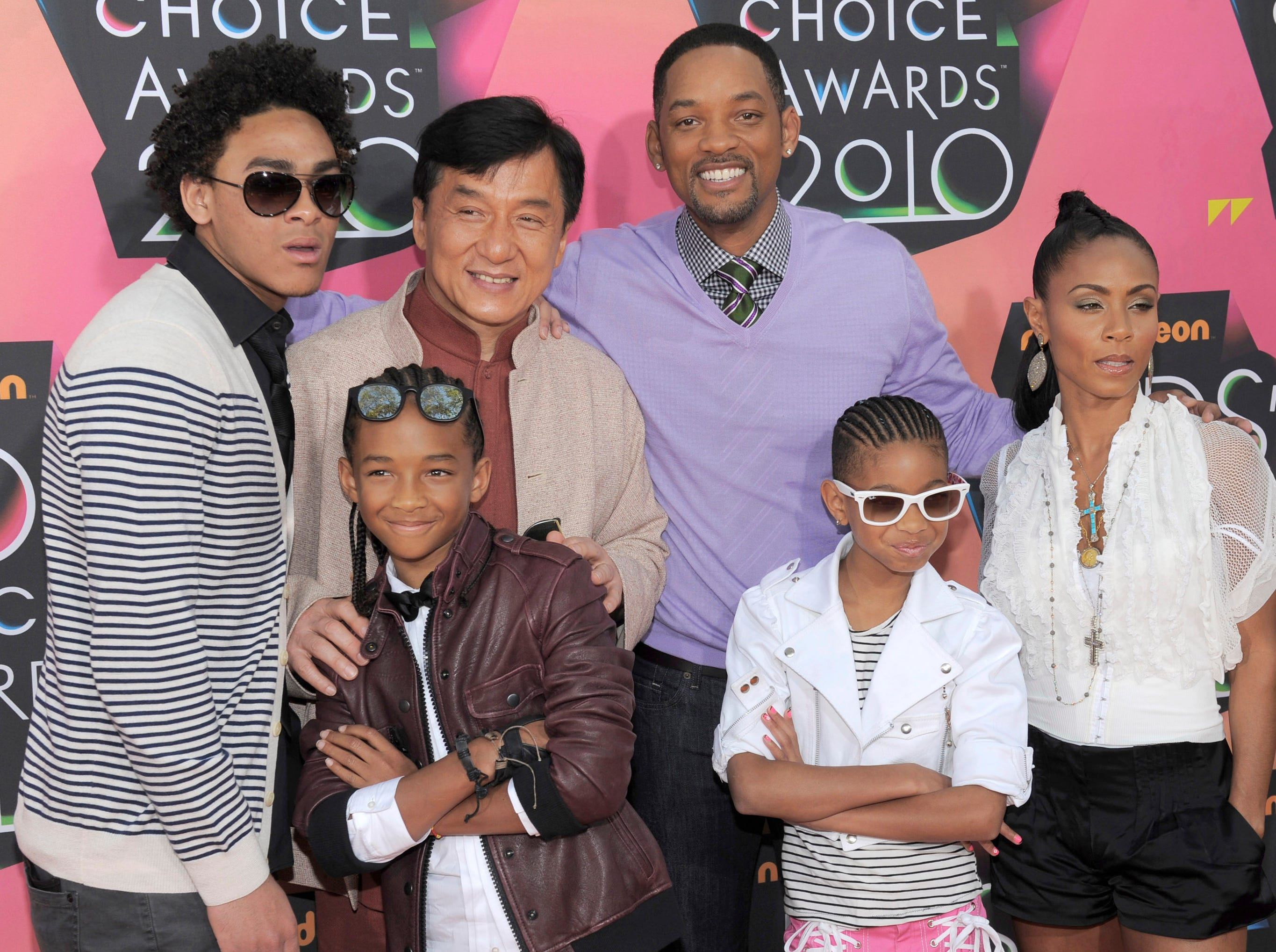 Trey Smith, actor Jackie Chan, actor Will Smith, Jada Pinkett Smith, in foreground, Jaden Smith and Willow Smith