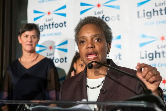 Chicago Mayoral candidate Lori Lightfoot addresses the crowd at her election night party as she leads in the polls on Feb. 26, 2019, in Chicago. Lightfoot, a federal prosecutor running as an outsider, advanced Tuesday to a runoff for Chicago mayor, a transitional election for a lakefront metropolis still struggling to shed its reputation for corruption, police brutality and street violence.