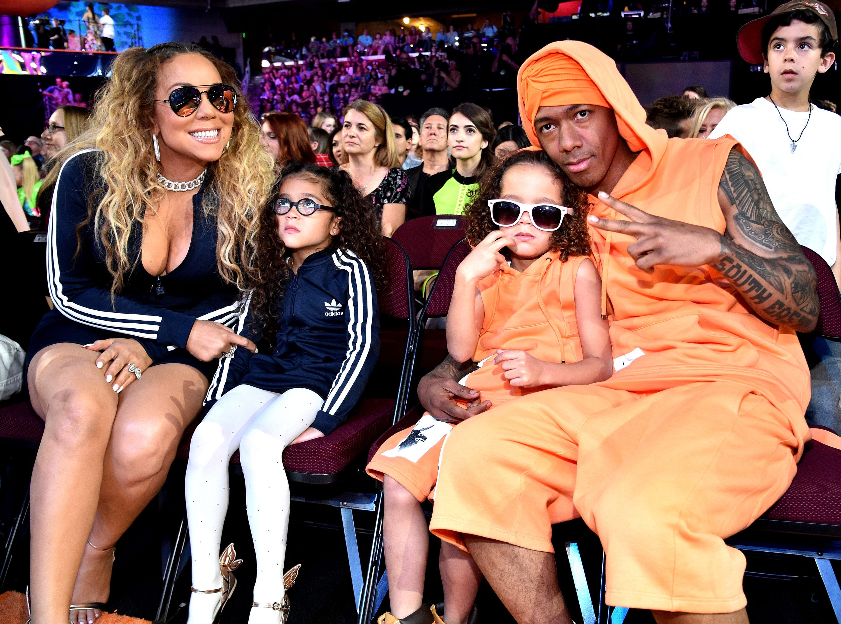 Mariah Carey, Monroe Cannon, Moroccan Scott Cannon and Nick Cannon during the 2017 Kids' Choice Awards.