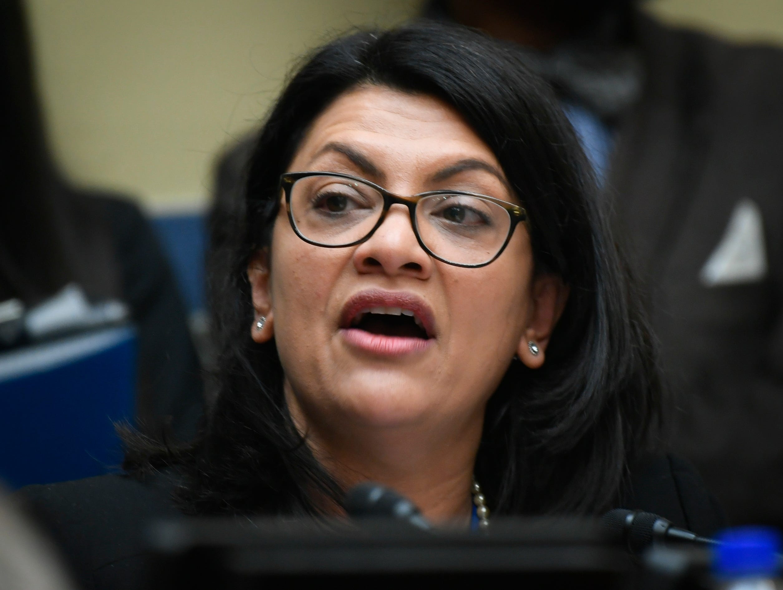 Rep. Rashida Tlaib (D-MI), closing her questions with a final remark leading to a heated exchange with Rep. Mark Meadows (R-NC) as she questioned Michael Cohen, President Donald Trump's longtime personal attorney, testifies before the House Committee on Oversight and Reform on Feb. 27, 2019 in Washington.