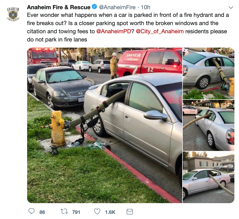 One fire department's warning: Here's what can happen if you park next to a fire hydrant
