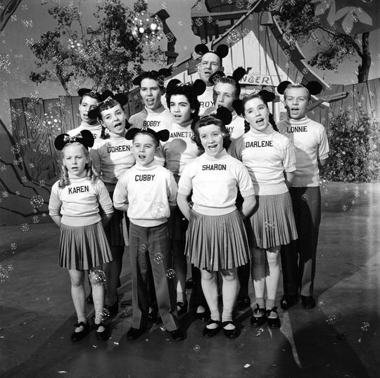 The original Mousketeers in a scene from the first week of the Mickey Mouse Club, which began airing in 1955.