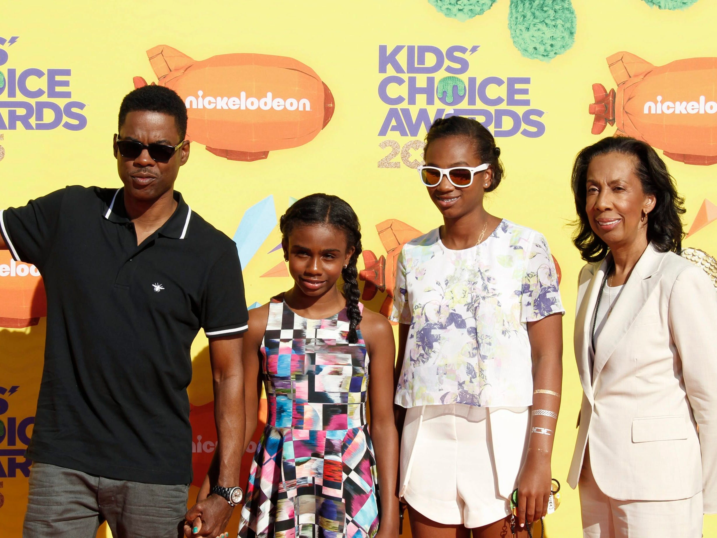 Chris Rock, Zahra Savannah Rock, Lola Simone Rock, and Rose Rock in 2015