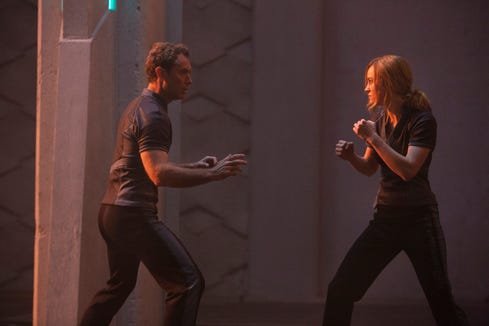 "Brie Larson shows off some fighting skills opposite Jude Law. ""I never had to throw a punch before this (film),"" she says. ""That has felt really good."""