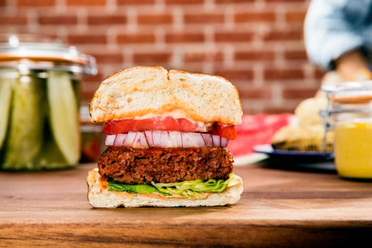 A burger from Beyond Meat, a plant-based food company.