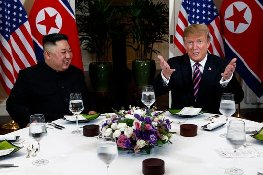 President Trump speaks during a dinner with North Korean leader Kim Jong Un,  Feb. 27, 2019, in Hanoi.