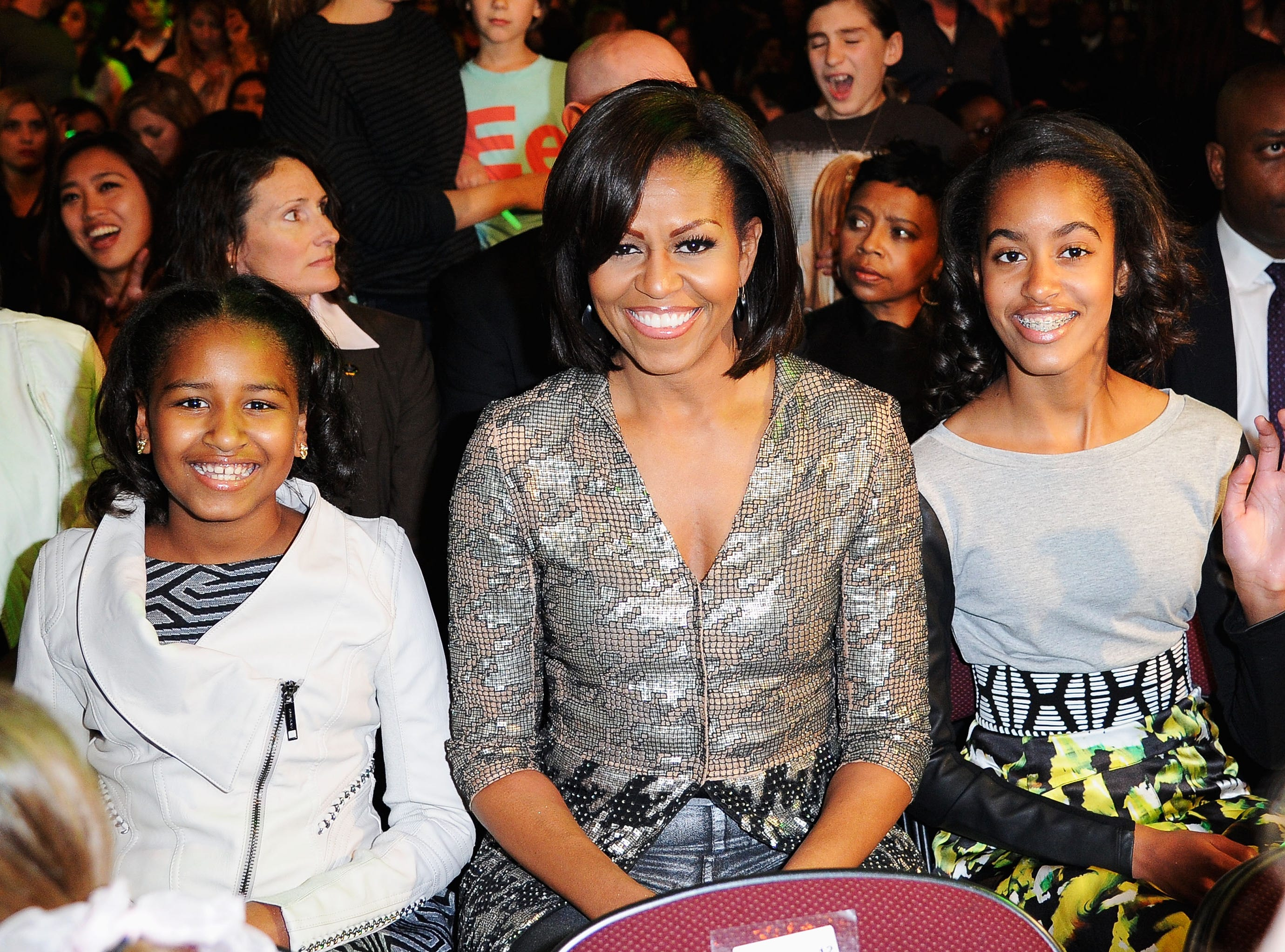 Sasha Obama, First Lady Michelle Obama and Malia Obama in 2012