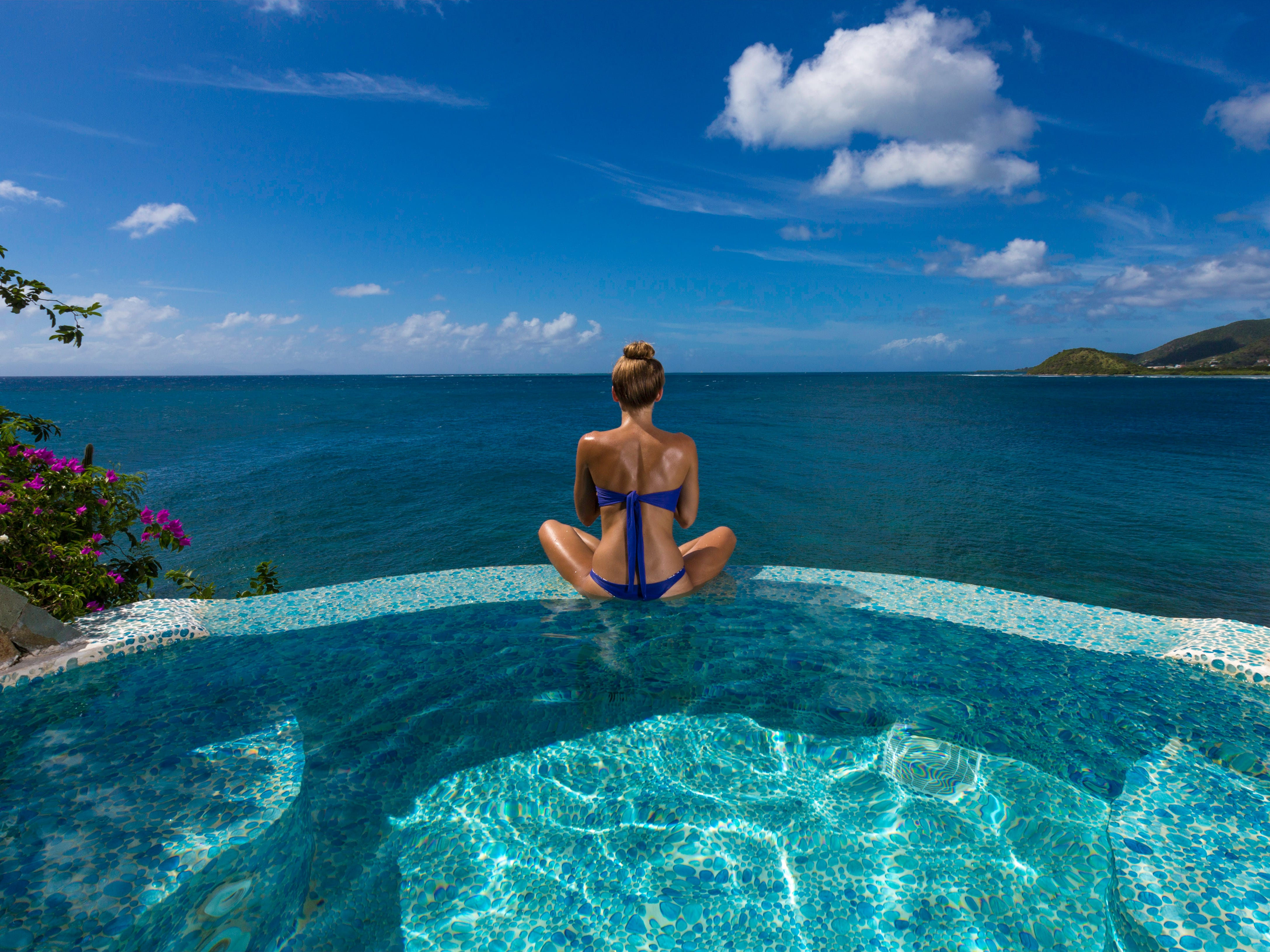 The Jacuzzi at The Spa at the Curtain Bluff Resort in Antigua is big enough to be a pool.