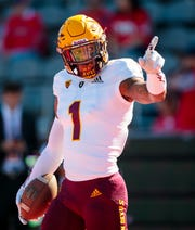 Arizona State Sun Devils wide receiver N'Keal Harry (1) prior to the game against the Arizona Wildcats during the Territorial Cup at Arizona Stadium.