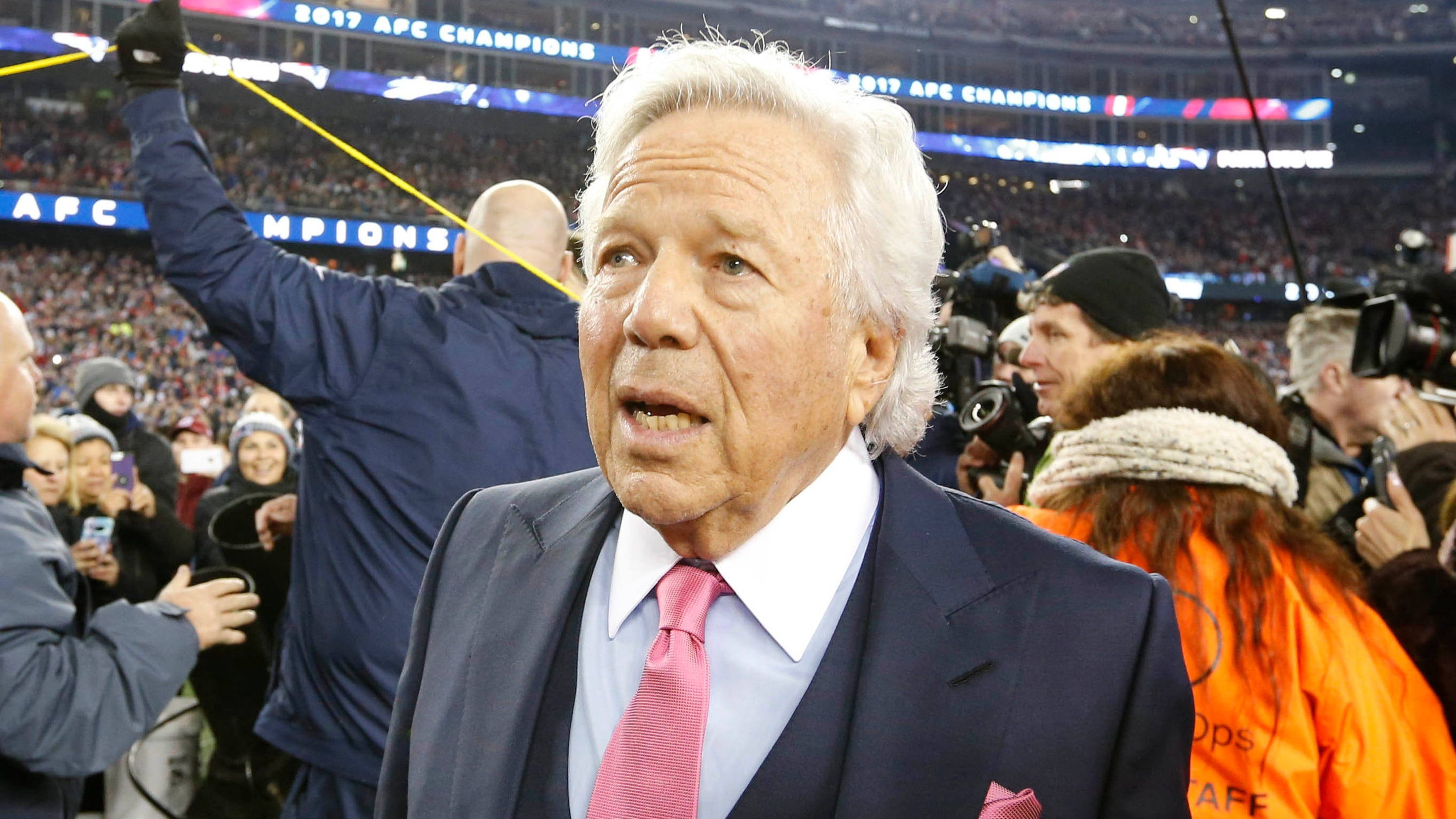 """Image result for SportsPulse: Trysta Krick explains why we should be thanking Robert Kraft following his alleged involvement in the solicitation of prostitution. USA TODAY CONNECT TWEET LINKEDIN COMMENT EMAIL MORE New England Patriots owner Robert Kraft pleaded not guilty on Tuesday to two misdemeanor counts of soliciting prostitution, according to court records. """"The Defendant, Robert Kraft, hereby pleads not guilty to all charges and requests a non-jury trial,"""" Jack A. Goldberger, Kraft's attorney, wrote in a filing – reviewed by USA TODAY Sports – made in Palm Beach County. Kraft was originally scheduled to be arraigned on April 24, although the hearing was moved to March 27. By entering a plea before the arraignment, Kraft avoids having to attend the arraignment in person. The charges against Kraft, 77, were linked to two alleged visits to the Orchids of Asia Day Spa in Jupiter, Florida, last month. The spa was under surveillance as part of multi-jurisdiction prostitution ring investigation. The second visit on Jan. 20 came hours before the Patriots played in the AFC title game in Kansas City. The Patriots issued the following statement last week: """"We categorically deny that Mr. Kraft engaged in any illegal activity. Because it is a judicial matter, we will not be commenting further."""" KRAFT INVESTIGATION: What's next for the Patriots owner? WHAT WE KNOW: Details on Robert Kraft's sex solicitation allegations WHO IS ROBERT KRAFT?: A look at the New England Patriots owner SPORTS, DELIVERED: Get the latest news right in your inbox Kraft faces a 10-day minimum sentence and a maximum of up to two years in jail if convicted on both charges, although it's expected he would be offered a pre-trial diversion program by prosecutors. Prosecutors could agree to drop one of the charges as part of a plea deal, which would allow Kraft to avoid any jail time. Kraft's decision to seek a bench trial – where a judge rules on guilt or innocence instead of a jury – isn't unusual, esp"""