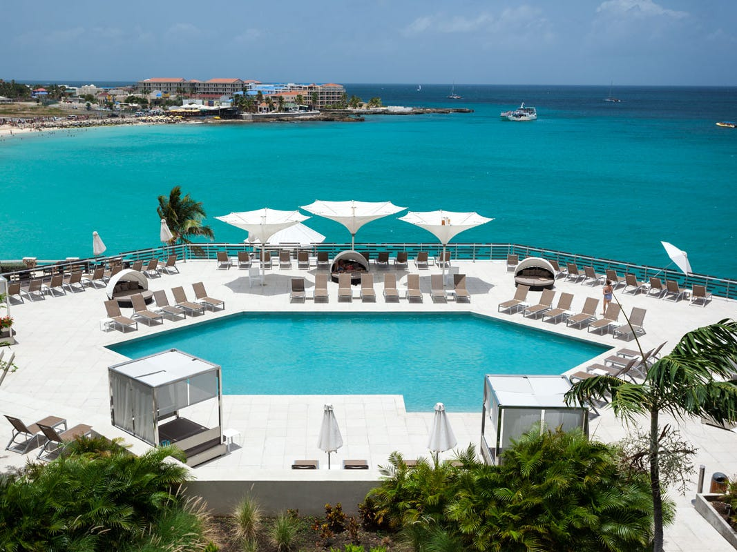 The Point Pool at Sonesta Ocean Point Resort overlooks Maho Beach.