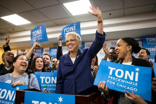 Chicago mayoral candidate Toni Preckwinkle speaks at her election night event in Chicago on Tuesday, Feb. 26, 2019.
