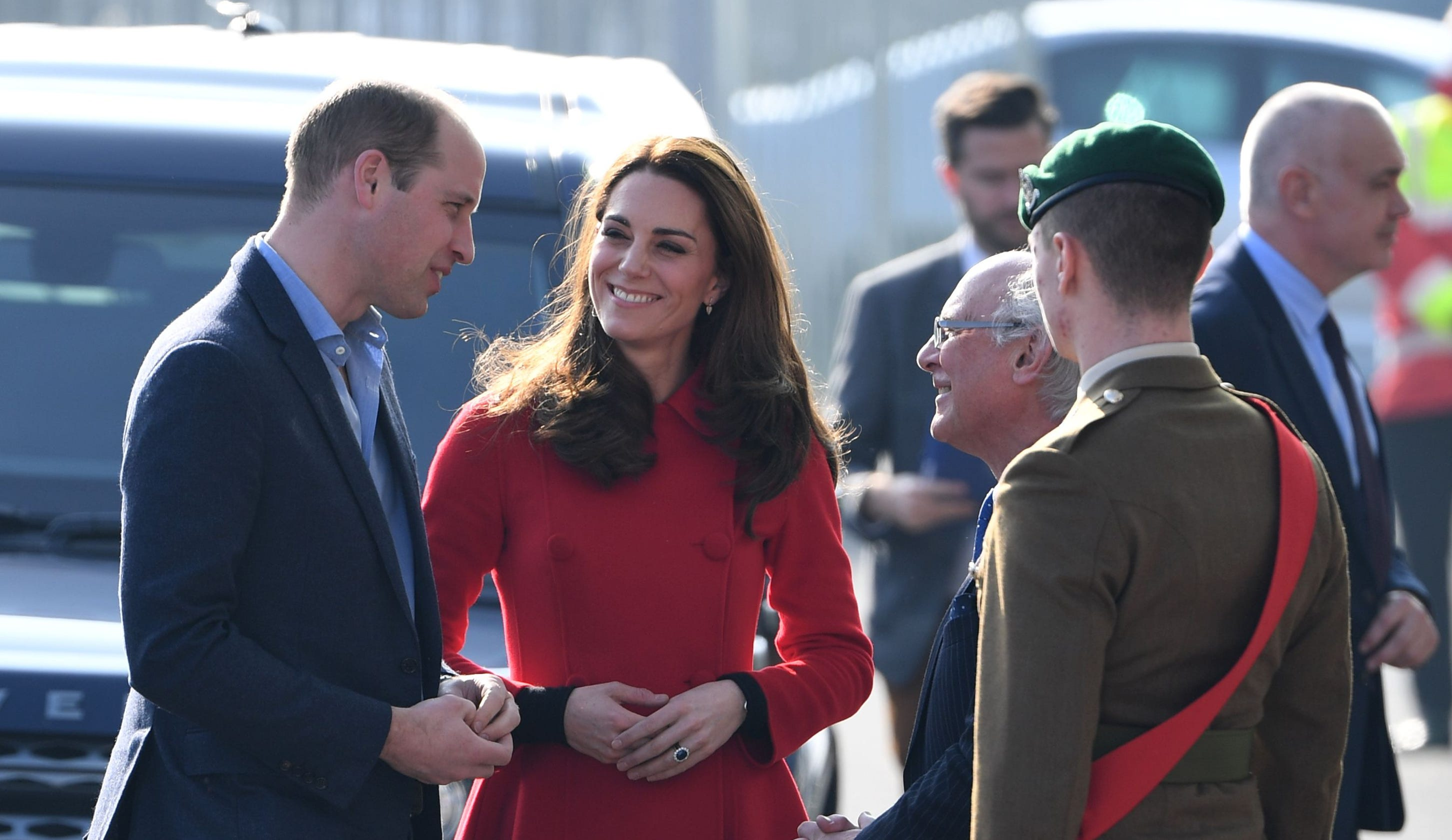 0f7fdebc4e2 Duchess Kate stuns in red coat for surprise Northern Ireland visit with  Prince William