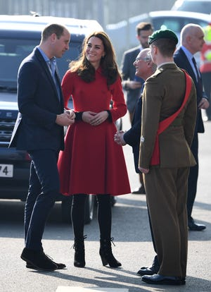 Prince William and Duchess Kate are greeted on arrival at the Irish Football Association in Belfast, Northern Ireland on Feb. 27, 2019.
