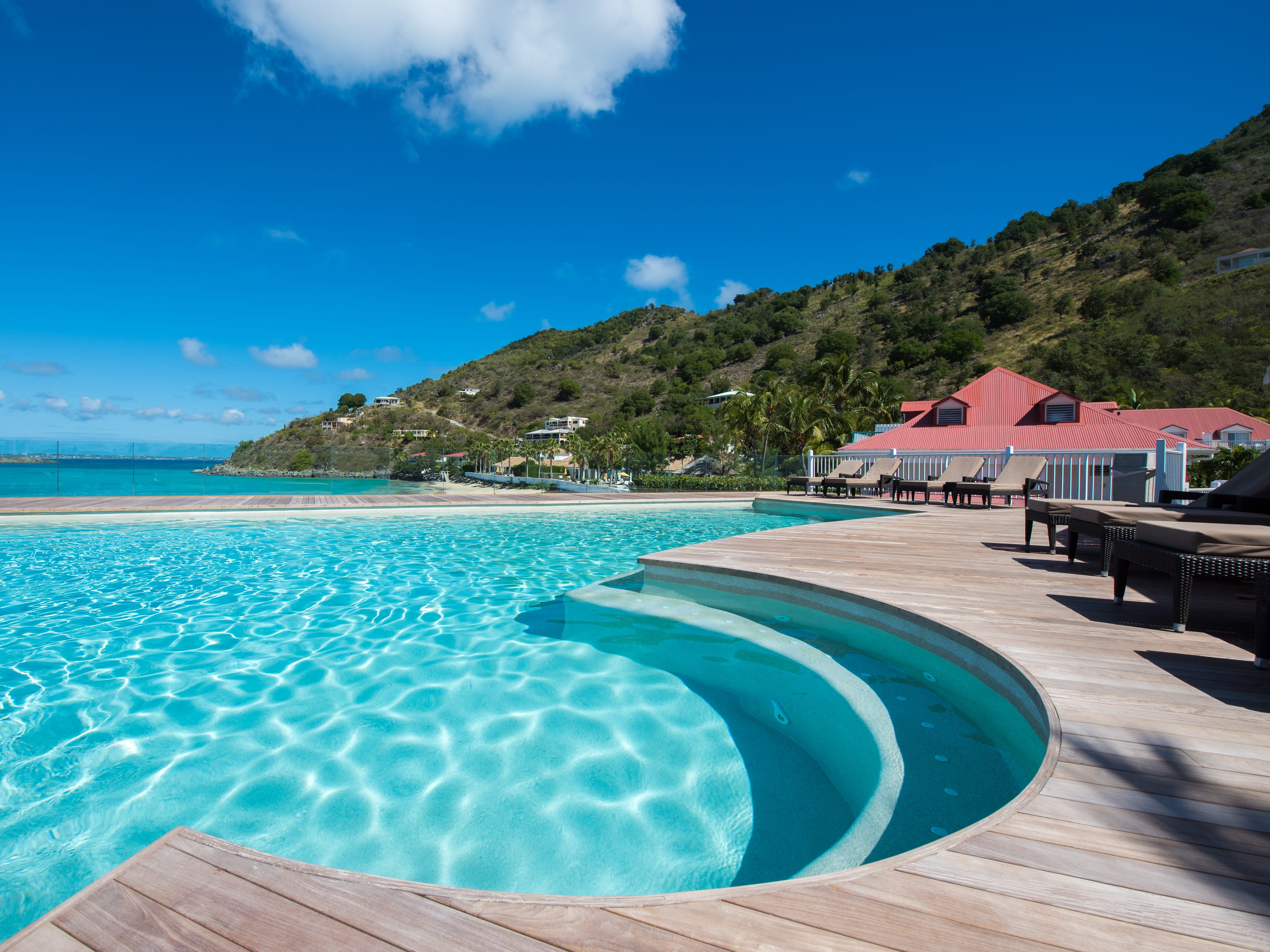 With views all the way to Anguilla on a clear day, the pool at the Grand Case Beach Club on St. Martin is perched high atop the beach and the sea.