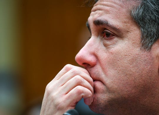 Michael Cohen, President Donald Trump's longtime personal attorney, near tears following his testimony before the House Committee on Oversight and Reform on Feb. 27, 2019 in Washington.