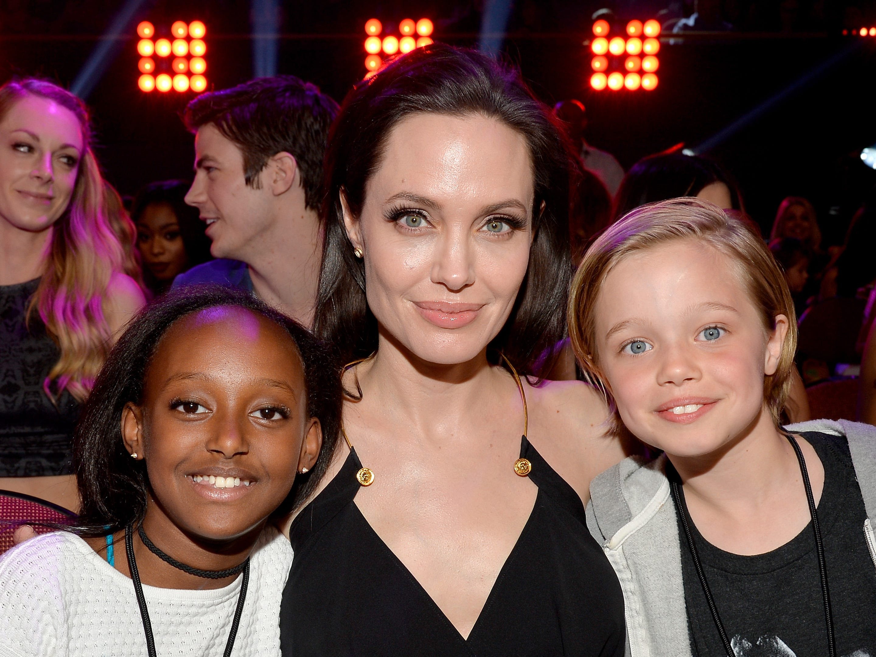 INGLEWOOD, CA - MARCH 28:  Actress Angelina Jolie with Zahara Marley Jolie-Pitt and Shiloh Nouvel Jolie-Pitt in 2015