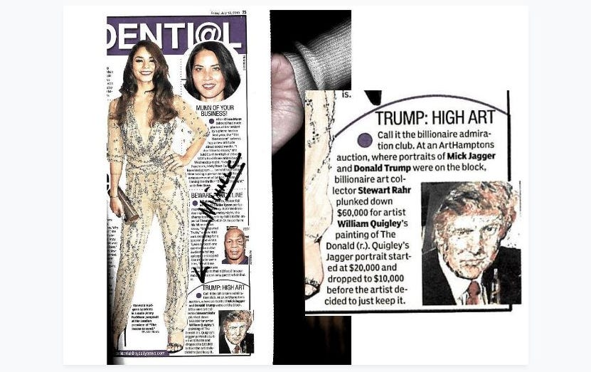 "A copy of a 2013 New York Daily News article that former attorney Michael Cohen says Donald Trump flagged for him about a portrait of Trump that sold for $60,000 at auction. Cohen claims Trump had him arrange a ""straw bidder"" to drive up the painting's cost."