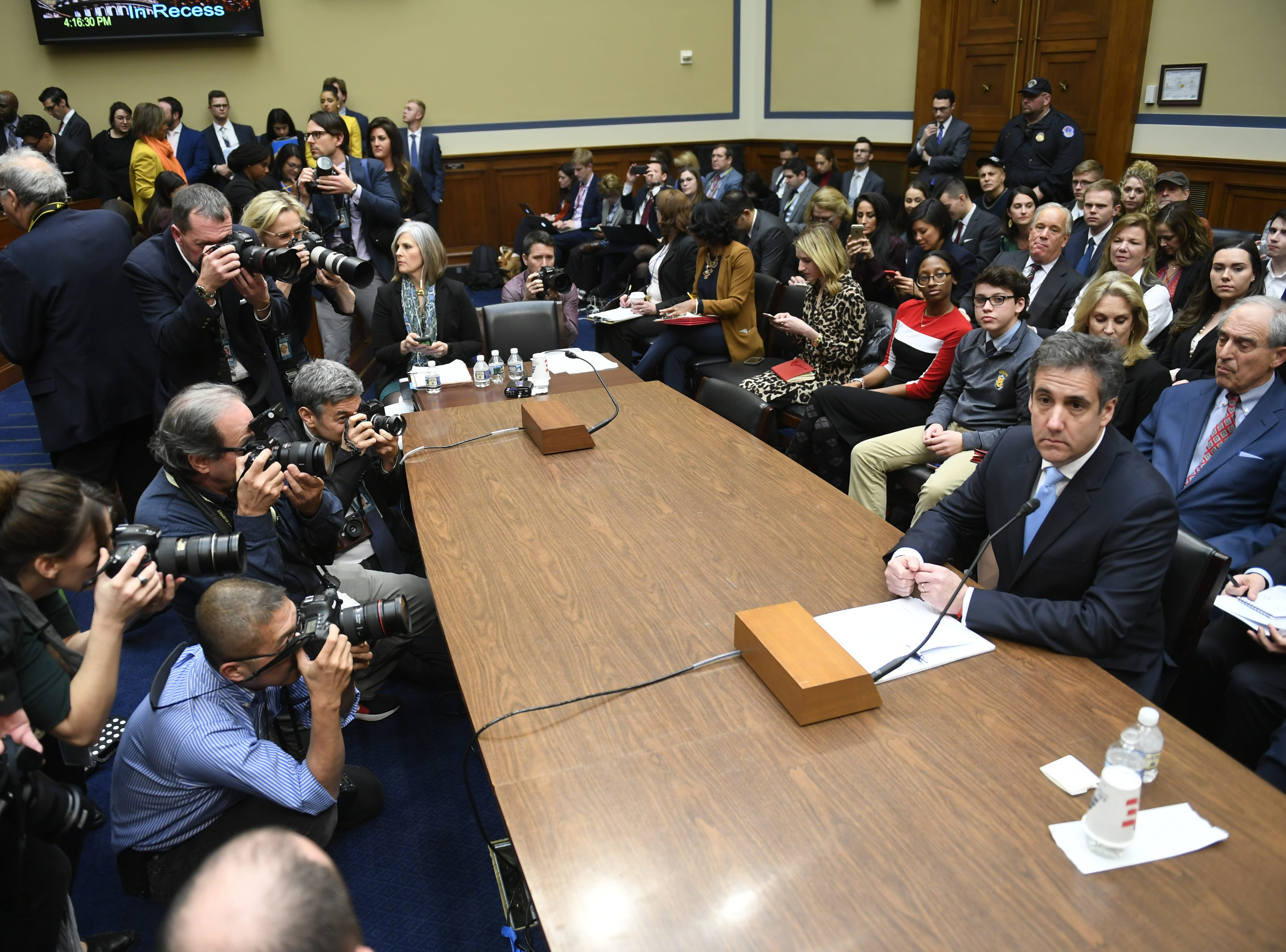 Michael Cohen, President Donald Trump's longtime personal attorney, testifies before the House Committee on Oversight and Reform on Feb. 27, 2019 in Washington. Cohen was sentenced to three years in prison for a series of federal crimes, including campaign finance violations and tax evasion.