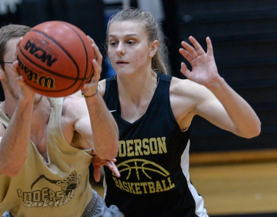 Alexy Mollenhauer leads the team in scoring points (538), rebound average (11.7 per game), and three-point shooting percentage (41.2) for Anderson University women's basketball. The team prepares for conference playoffs coming this week.