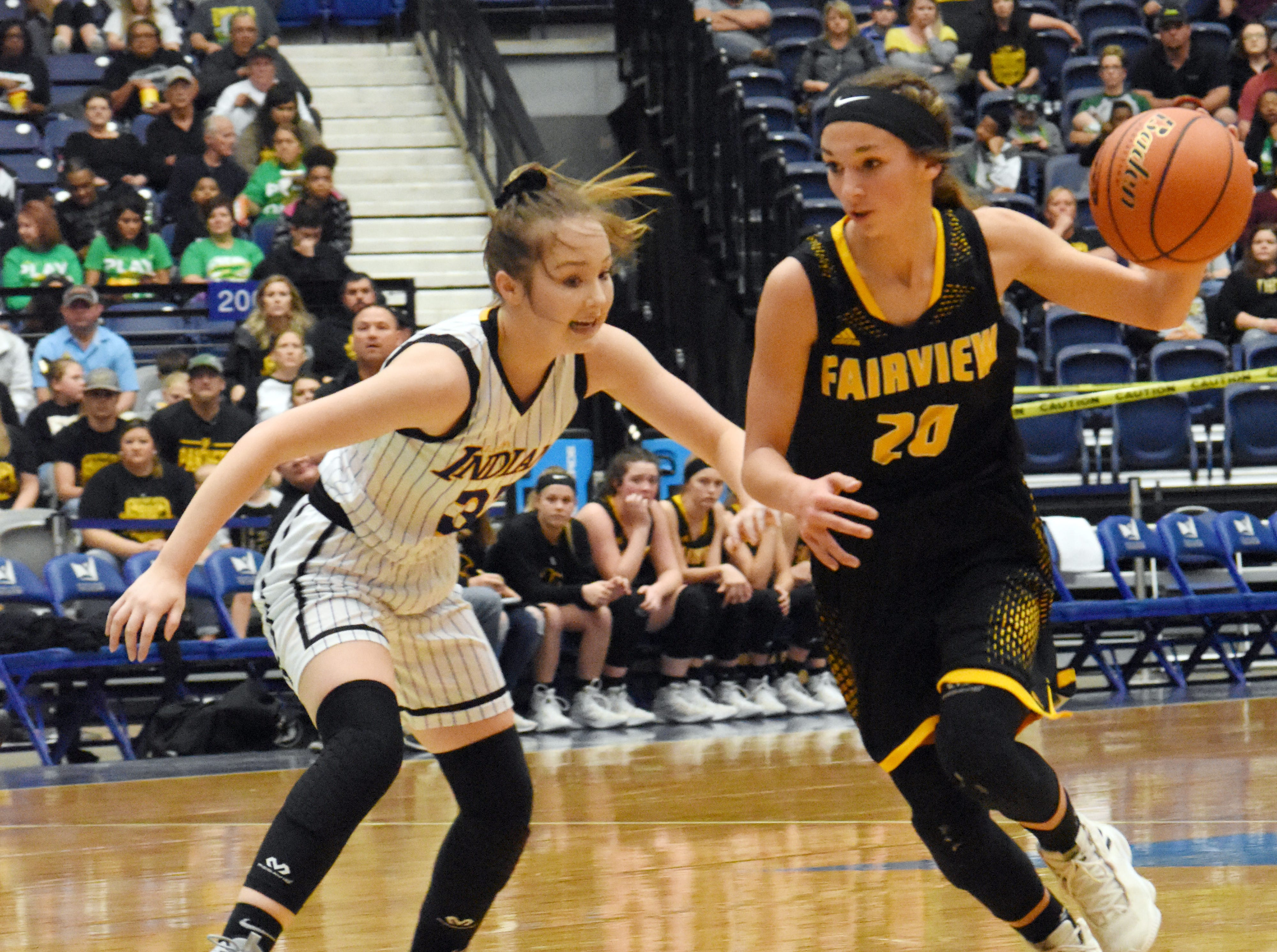 Anacoco's Kayley Procell (33, left) guards  Fairview's Ryleee Jinks in the semifinals of the Class B 2019 Allstate Sugar Bowl LHSAA girls' State Basketball Marsh Madness Tournament held Wednesday, Feb. 27, 2019 at the Rapides Parish Coliseum. Anacoco advances to the state championship tournament against Hicks High School.