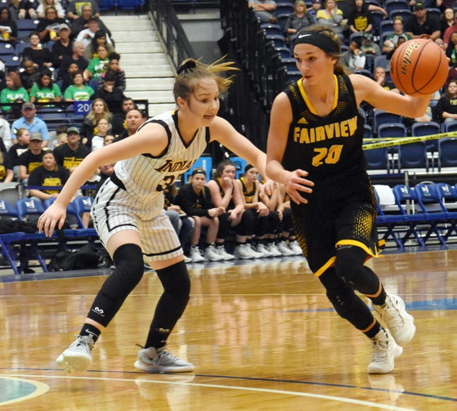 Anacoco's Kayley Procell (33, left) guards Fairview's Ryleee Jinks in the semifinals of the 2019 Class B 2019 Allstate Sugar Bowl LHSAA girls' State Basketball Marsh Madness Tournament Feb. 27, 2019 at the Rapides Parish Coliseum. Jinks earned District 5-B MVP honors for 2020.