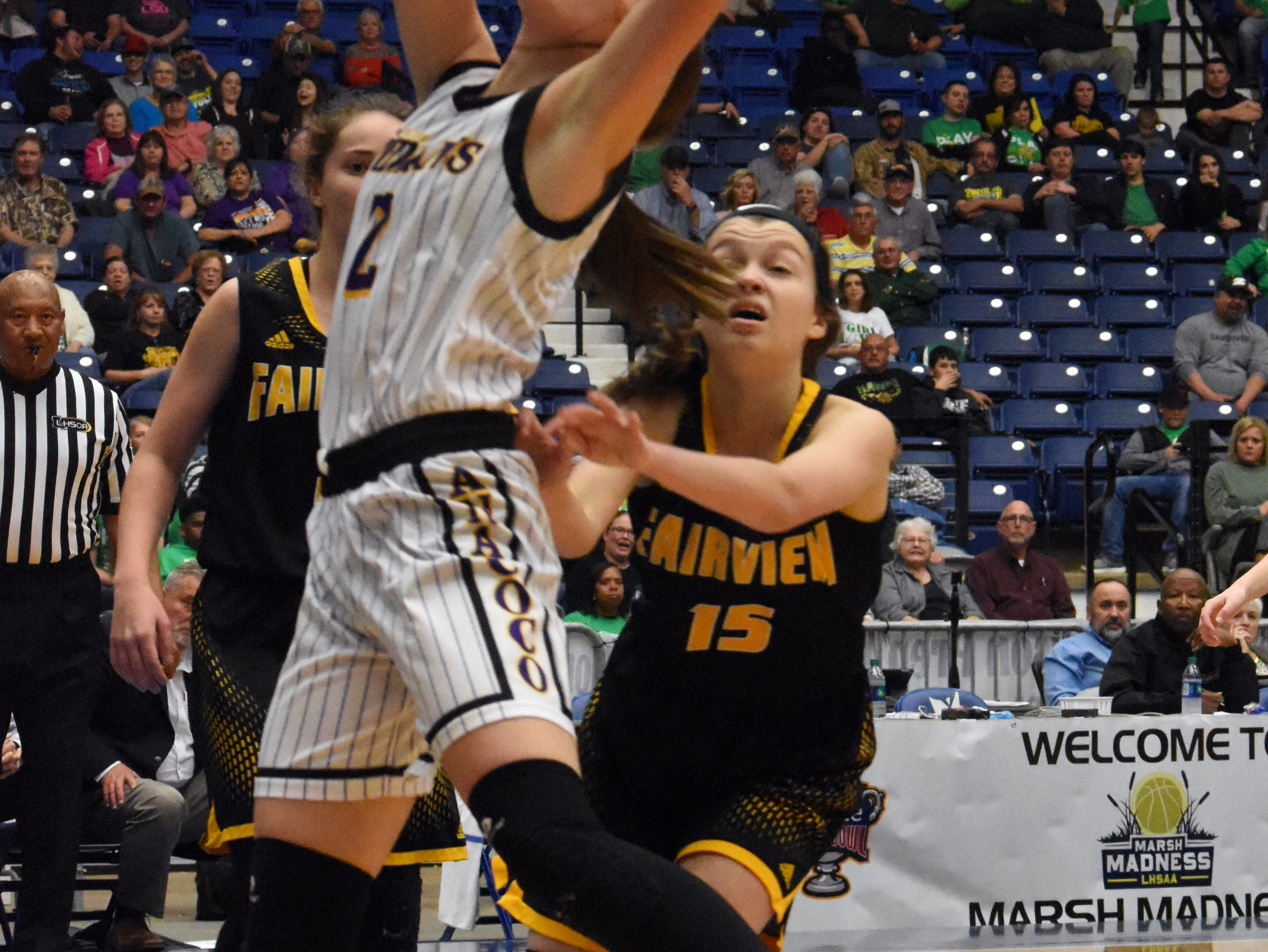 Anacoco High School defeated Fairview High School 59-46 in the semifinals of the Class B 2019 Allstate Sugar Bowl LHSAA girls' State Basketball Marsh Madness Tournament held Wednesday, Feb. 27, 2019 at the Rapides Parish Coliseum. Anacoco advances to the state championship tournament against Hicks High School.