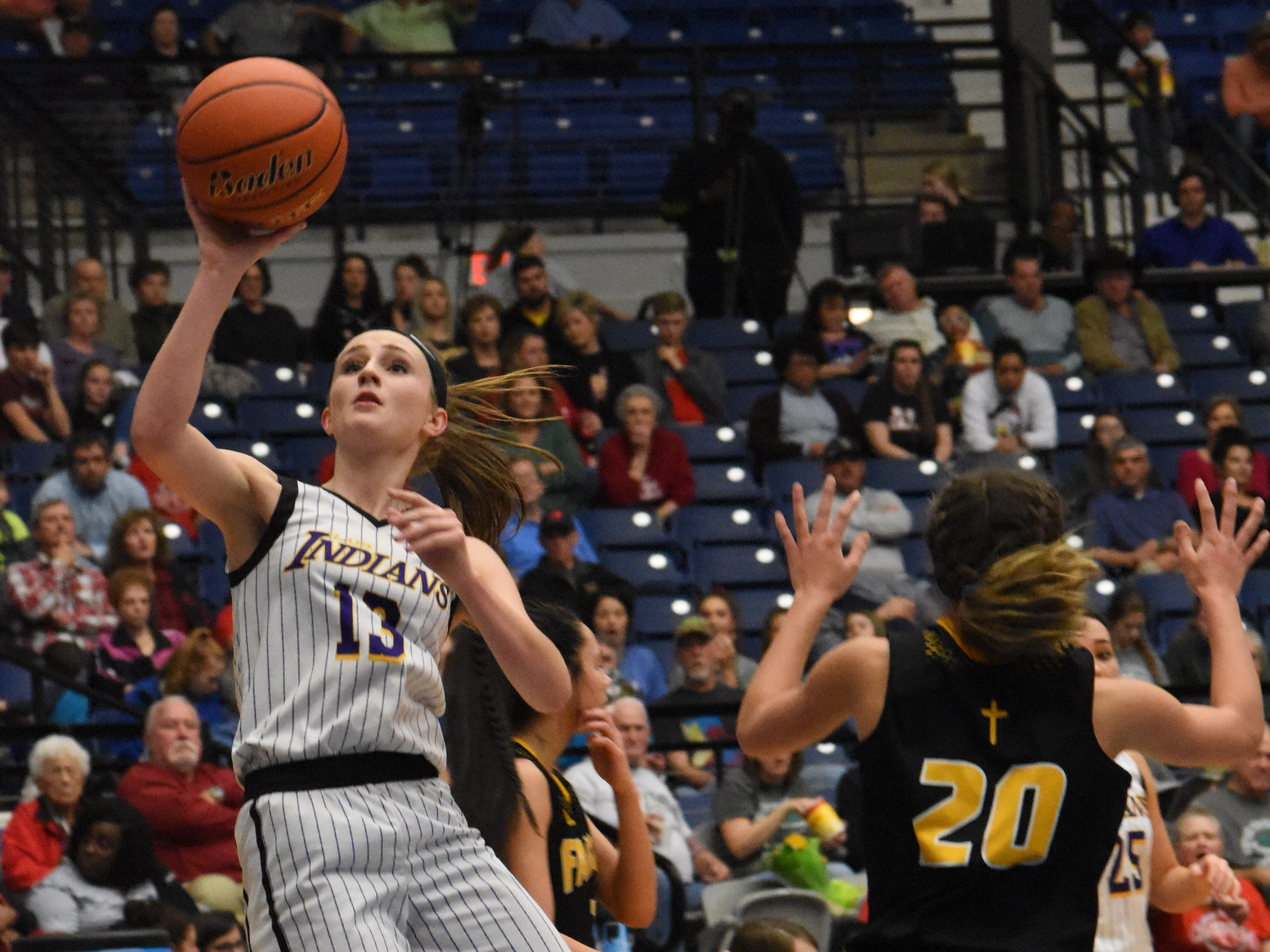 Anacoco's Ellie MacDonald tries to shoot against Fairview in the semifinals of the Class B semifinals Wednesday, Feb. 27, 2019 at the Rapides Parish Coliseum. MacDonald was named as the MVP of the All-District 4-B team.