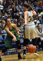 Zwolle freshman Olivia Sepulvado (4) passes the ball against Hicks in the semifinals of the Class B 2019 Allstate Sugar Bowl LHSAA girls' State Basketball Marsh Madness Tournament held Wednesday, Feb. 27, 2019 at the Rapides Parish Coliseum. Hicks advances to the state championship tournament against Anacoco High School.