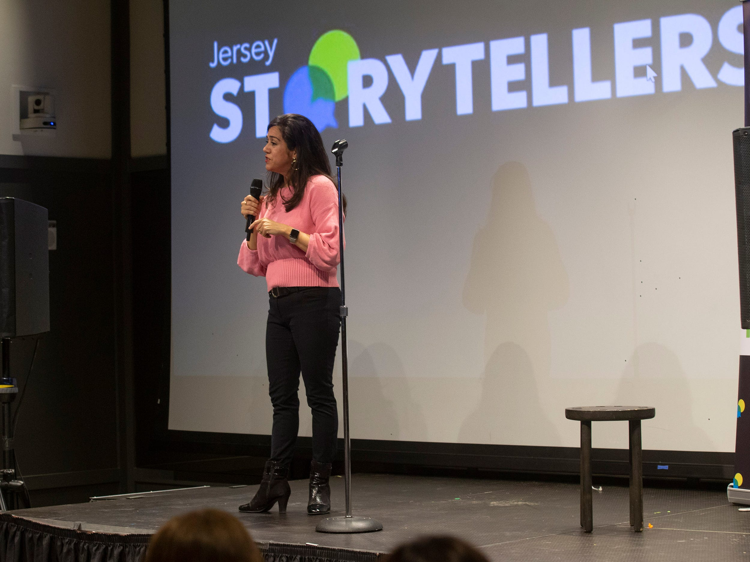Storyteller Cynthia Salinas tells her story.  Speakers and crowds alike enjoy the latest version of Storytellers in Asbury Park on February 27, 2019, this night's subject was starting over.