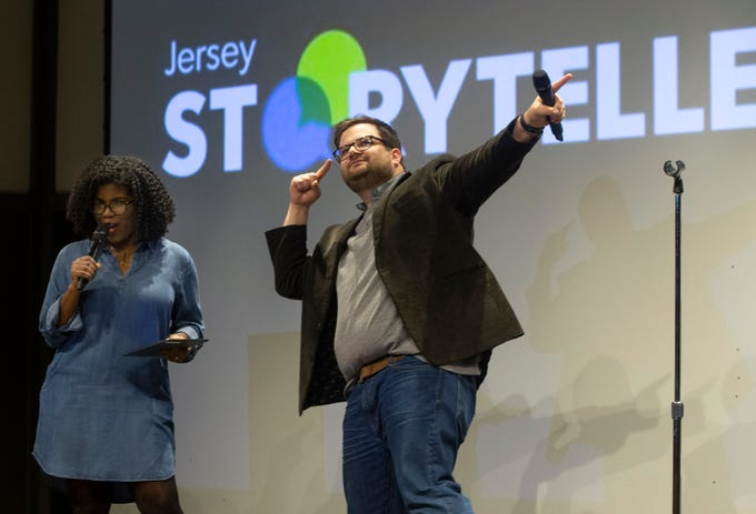 Hosts G. Michelle Lewis and Mike Davis open the show  as speakers and crowds alike enjoy the latest version of Storytellers in Asbury Park on February 27, 2019, this night's subject was starting over.